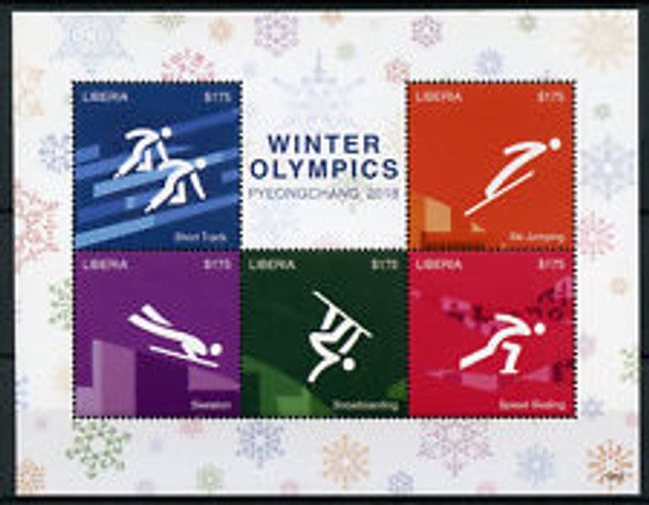 LIBERIA (2018) Winter Olympics Sheet LAST ONE