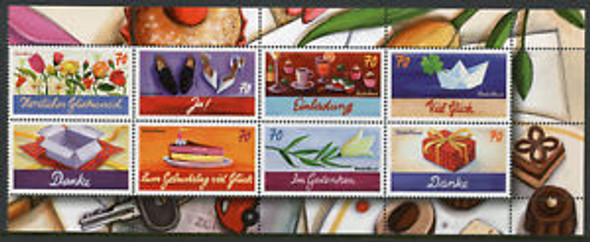 GERMANY (2018) GREETINGS & GOOD LUCK STAMPS- SHEET OF 8v
