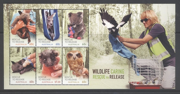 AUSTRALIA- Wildlife Rescue- souvenir sheet- Sheet of 6- bird in border