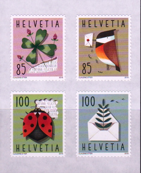 SWITZERLAND (2018)- GREETING STAMPS- LADY BUG,BIRD, ETC. (4 VALUES)