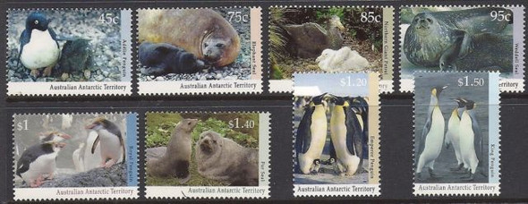AUSTRALIAN ANTARCTIC TERRITORY (1993)-WILDLIFE (PENGUINS & SEALS) DEFINITIVES-8v