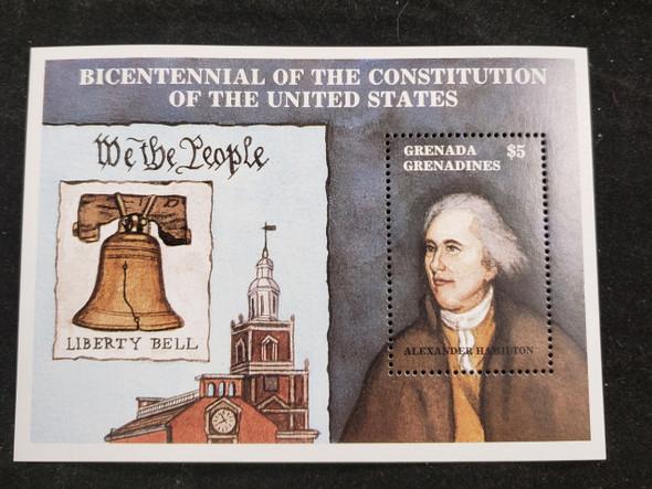 GRENADA GRENADINES (1987) Bicentennial  of US Constitution, Liberty Bell SS