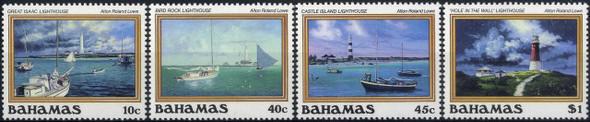 BAHAMAS (1987)- Paintings of Lighthouses (4v)- SCV=$32.50