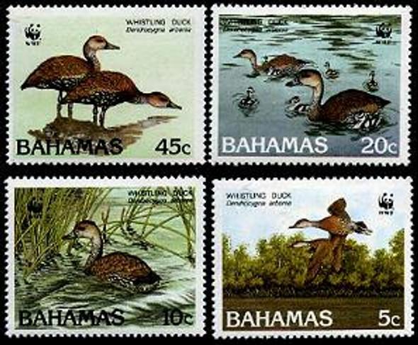 BAHAMAS (1988)- WWF WHISTLING DUCK (4 VALUES)
