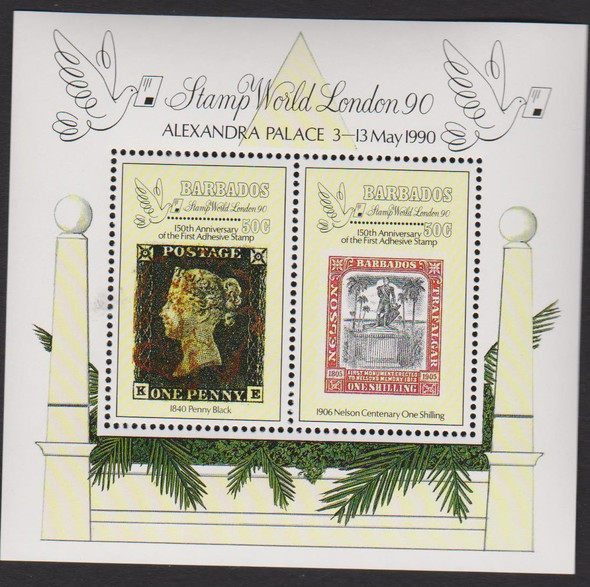 BARBADOS ( 1990) Penny Black Stamp World London SS