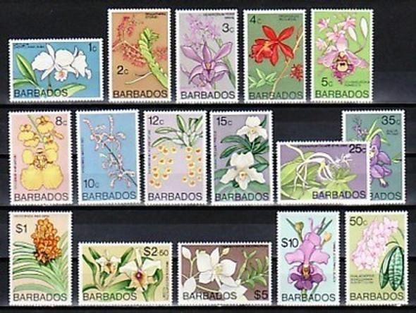 BARBADOS (1977)- FLOWER DEFINITIVE SET OF 16v- ORCHIDS