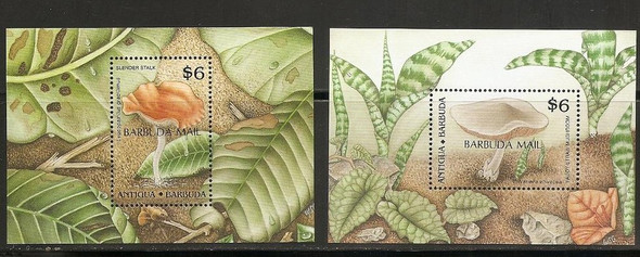 BARBUDA (1990): Mushrooms- souvenir sheets (2)- SCV=$90!