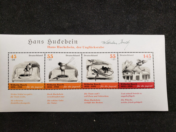 GERMANY  (2007) Wilhelm  Busch,Poet,Comic Illustrations Sheet