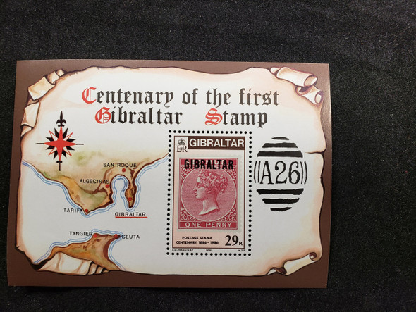 GIBRALTAR (1986) Centenary Of First Stamp SS