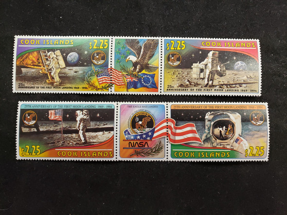 COOK ISLANDS 1994 MOON LANDING Colorful 25th Anniversary Strips (2)
