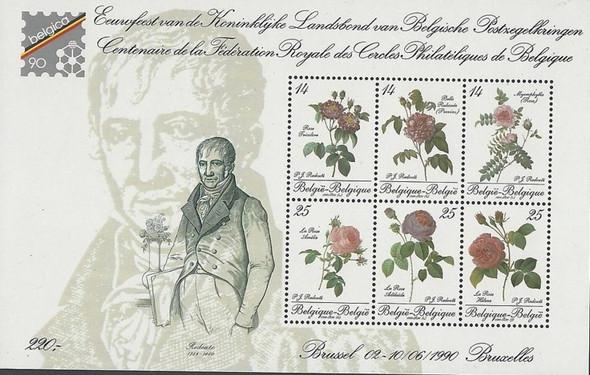 BELGIUM (1990)- Roses Sheet of 6- Belgica 90 Expo Sheet