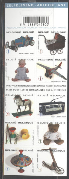 BELGIUM (2008)- Antique Toys Booklet- Teddy Bear, Top, etc.-10 self adhesives