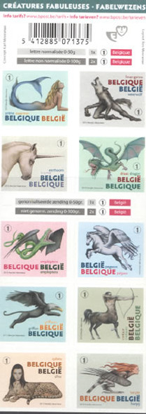 BELGIUM (2012) - Mythological Creatures Booklet- self-adhesive- dragon- sphinx- mermaid etc
