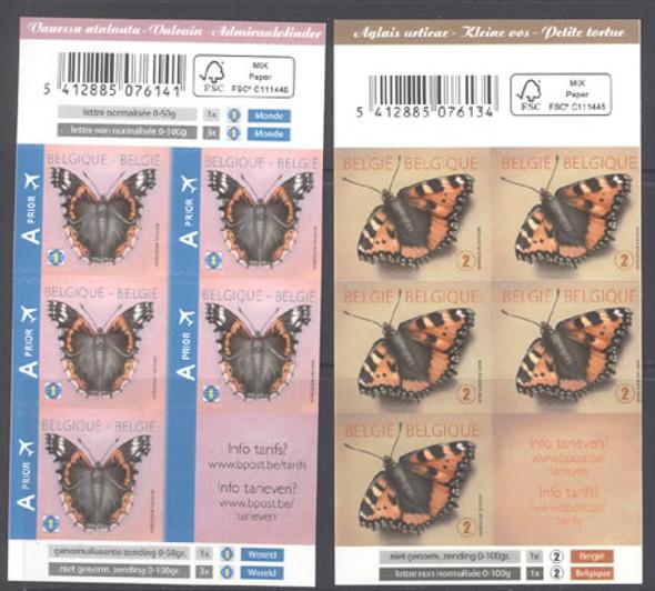 BELGIUM (2013)- Butterflies Booklets- self-adhesives (2)