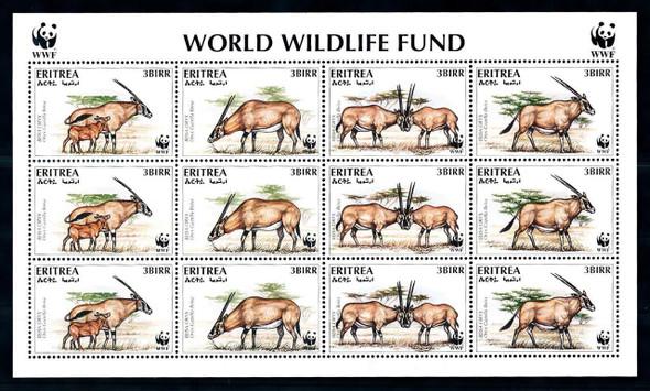 ERITREA  (1996) Endanger Animal Sheet of 3 Sets