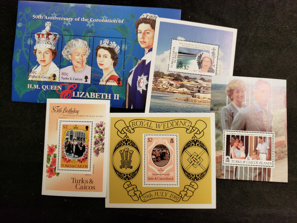 TURKS CAICOS ROYALTY,QEII, Diana Sheet ,SS Assortment  LAST ONEs