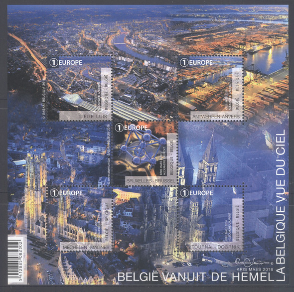 BELGIUM (2017) - Belgium From The Sky- Sheet of 5