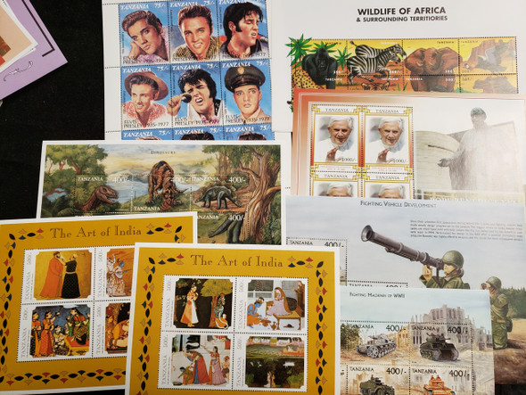 TANZANIA  17 Sheet Collection, Cats, Sports, Pope,Birds LAST ONES