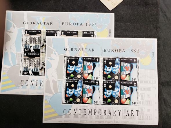 GIBRALTAR (1993) EUROPA Contemporary Art Colorful 2  Sheet Set