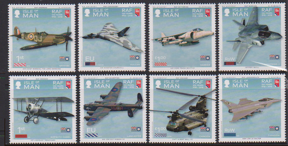 ISLE OF MAN (2018)- RAF CENTENARY- AIRCRAFT (8v)