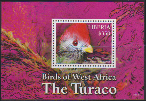 LIBERIA (2017)- BIRDS OF AFRICA SHEET OF 4v & SOUVENIR SHEET