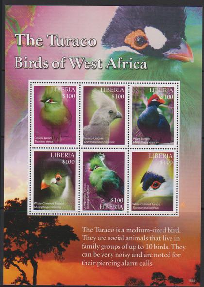LIBERIA (2017)- BIRDS OF WEST AFRICA SHEET OF 6v