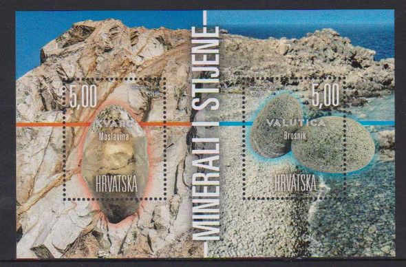 CROATIA (2018)- MINERAL SOUVENIR SHEET OF 2v- SHAPED STAMPS