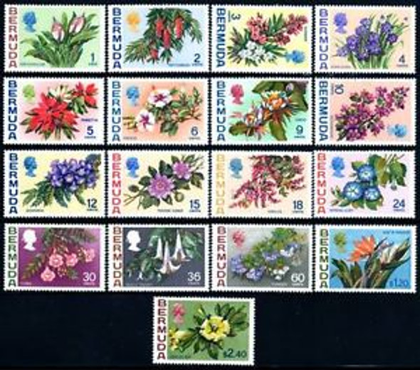 BERMUDA (1970)- Flower Definitives (17 values)- SCV>$53!