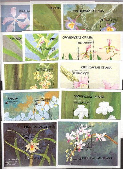 BHUTAN (1990): Orchid Souvenir Sheets (12 values)- SCV= $66!