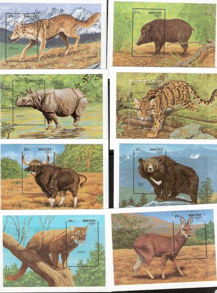BHUTAN (1990): Wildlife Souvenir Sheets-12v-Panda, Wolf