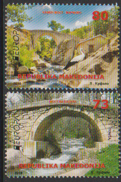 MACEDONIA (2018)- EUROPA BRIDGES- 2v & SHEET OF 4v