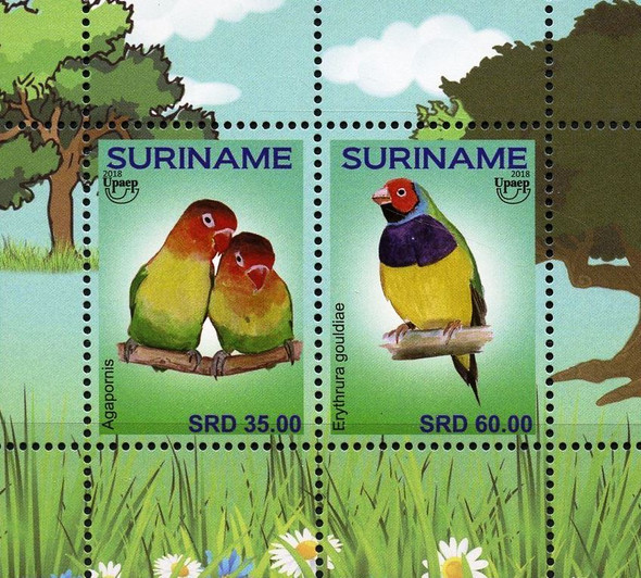SURINAME (2018) UPAE TOURISM- LOVE BIRDS SHEET OF 2v