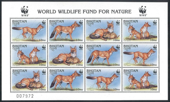 BHUTAN (1997) - WWF Red Wolf  Sheet of 12 values