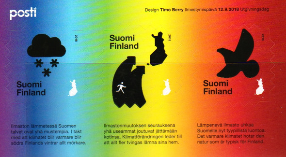 Finland heat sensitive souvenir sheet dramatically displays the effects of global warming.
