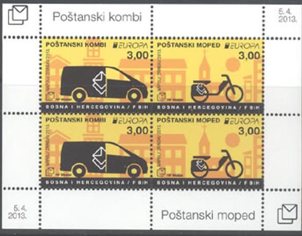 BOSNIA- CROAT Europa 2013 Postal Vehicles- Sheet of 4