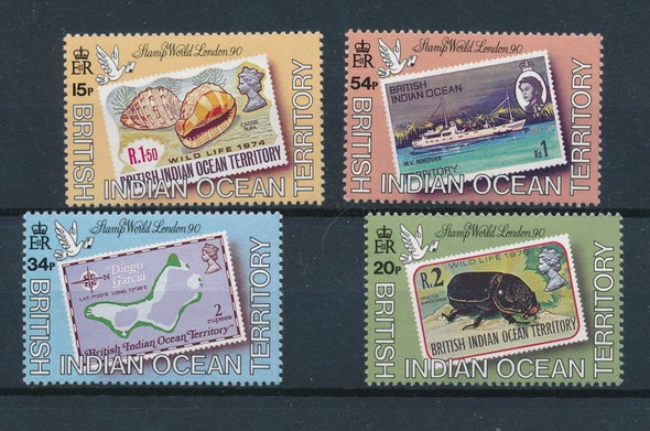 BR. INDIAN OCEAN TERR- 1990 LONDON EXPO-4 VALUES-CAT=$25!