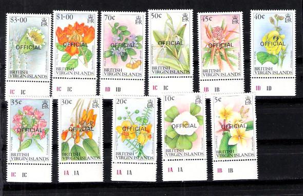 BR. VIRIGIN ISLANDS (1992) FLOWER DEFINITIVIES 11v w/OFFICIAL OVERPRINT