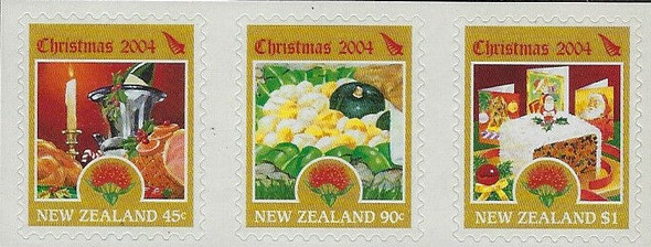 NEW ZEALAND (2004)- Christmas Coil Strip of 3v- Food & Candles
