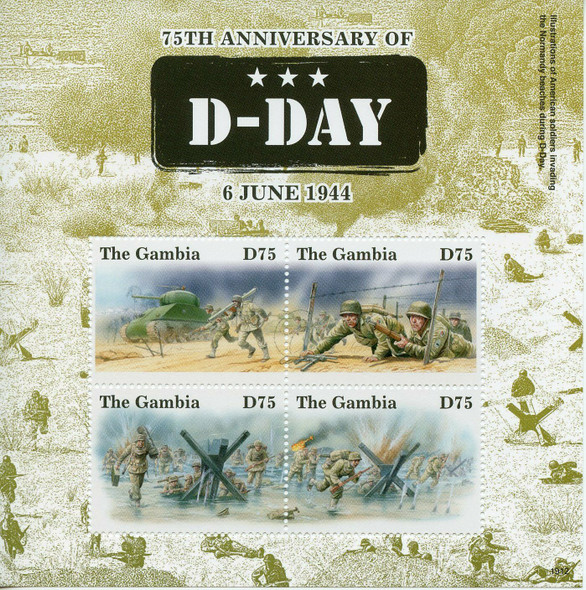 GAMBIA (2019)- WWII 75TH ANNIVERSARY D-DAY- SHEET OF 4 & S.S.