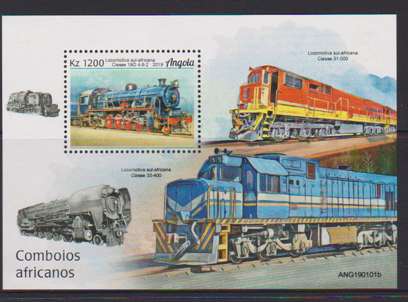 ANGOLA (2019)- Trains- Set of 4 & souvenir sheet