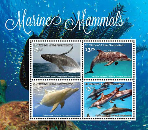 ST VINCENT (2016) Marine Mammals Sheet of 4- Whales/Dolphins & souvenir sheet - manatee