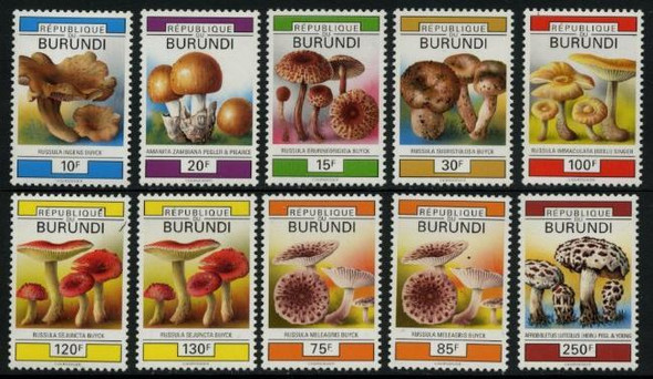 BURUNDI (1990)- MUSHROOMS- 10v-CATALOG VALUE =$43!