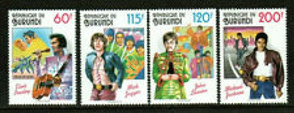 BURUNDI (1998)- ROCK STARS-ELVIS,JAGGER,JOHN LENNON, MICHAEL JACKSON-4v & SHEET
