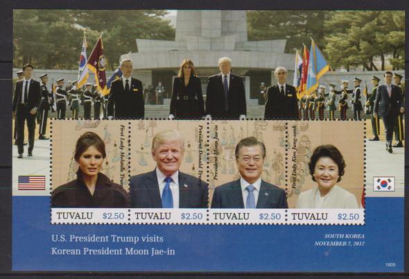 TUVALU (2019)- President Trump Visits Korea Sheet of 4v