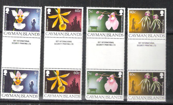 CAYMAN ISLANDS (1993)- Christmas Orchids- gutter pairs (4v)- SCV=$32.30
