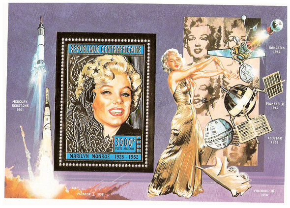 CENTRAL AFRICAN REP (1996).-Marilyn Monroe Gold Foil Souvenir Sheet w/Space Achievements
