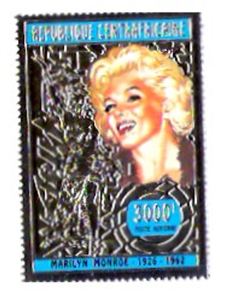 CENTRAL AFRICAN REPUBLIC (1996)- MARILYN MONROE-Gold Foil Air Mail Stamp