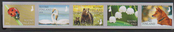FINLAND (2018)- NATURE SYMBOLS (5v)- SWANS,LADY BUG, FLOWERS, BEAR, DOG