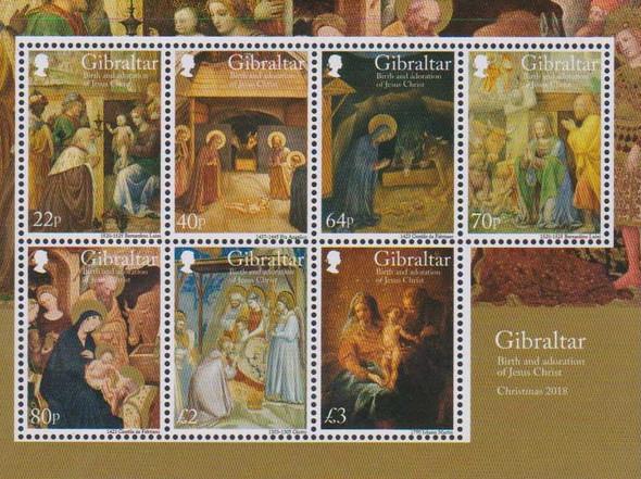 GIBRALTAR (2019)- CHRISTMAS 2019- RELIGIOUS ART (7v & SHEET)