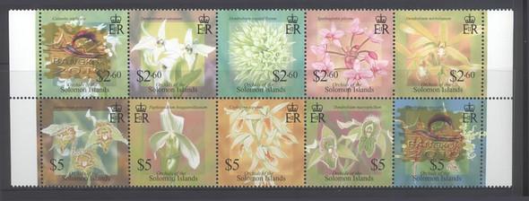 SOLOMONS ISLAND (2011) Orchids Block of 10
